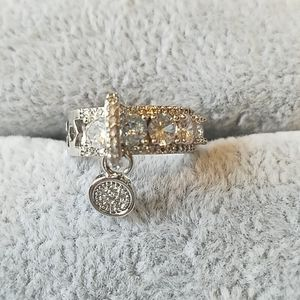 Charm ring, silver with cz